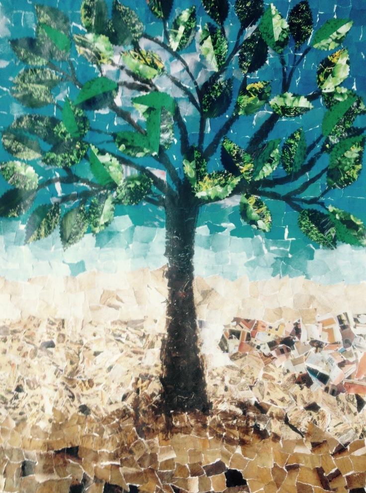 Een oude boom, gekleurde gedachten, Karien Damen